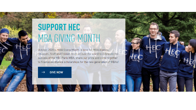 HEC MBA Giving Month: October 2020, Support the Next Generation of MBAs!